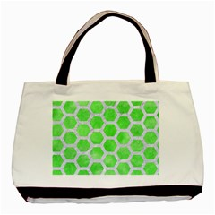 Hexagon2 White Marble & Green Watercolor Basic Tote Bag