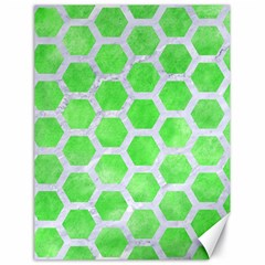 Hexagon2 White Marble & Green Watercolor Canvas 18  X 24