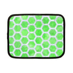 Hexagon2 White Marble & Green Watercolor Netbook Case (small)