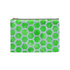 Hexagon2 White Marble & Green Watercolor Cosmetic Bag (medium)