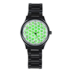 Hexagon2 White Marble & Green Watercolor Stainless Steel Round Watch