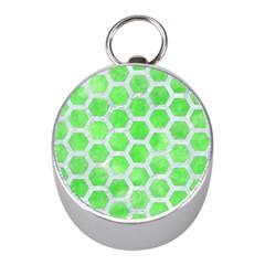 Hexagon2 White Marble & Green Watercolor Mini Silver Compasses