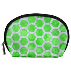 Hexagon2 White Marble & Green Watercolor Accessory Pouches (large)