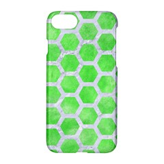 Hexagon2 White Marble & Green Watercolor Apple Iphone 7 Hardshell Case by trendistuff
