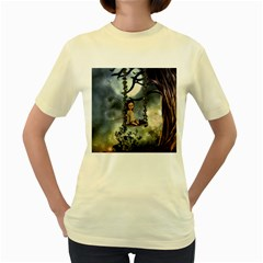 Cute Little Fairy With Kitten On A Swing Women s Yellow T Shirt by FantasyWorld7