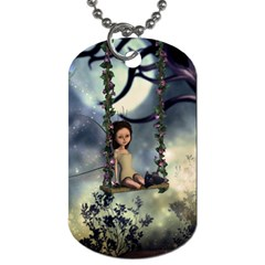 Cute Little Fairy With Kitten On A Swing Dog Tag (one Side) by FantasyWorld7