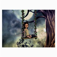 Cute Little Fairy With Kitten On A Swing Large Glasses Cloth (2 Side)