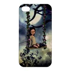Cute Little Fairy With Kitten On A Swing Apple Iphone 4/4s Hardshell Case