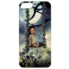 Cute Little Fairy With Kitten On A Swing Apple Iphone 5 Classic Hardshell Case by FantasyWorld7