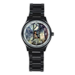 Cute Little Fairy With Kitten On A Swing Stainless Steel Round Watch