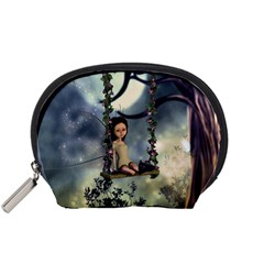 Cute Little Fairy With Kitten On A Swing Accessory Pouches (small)