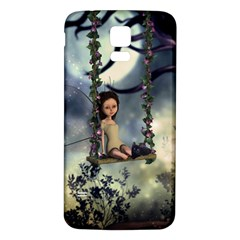 Cute Little Fairy With Kitten On A Swing Samsung Galaxy S5 Back Case (white)