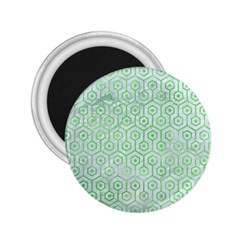 Hexagon1 White Marble & Green Watercolor (r) 2 25  Magnets