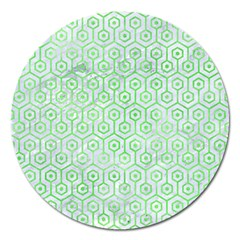 Hexagon1 White Marble & Green Watercolor (r) Magnet 5  (round)