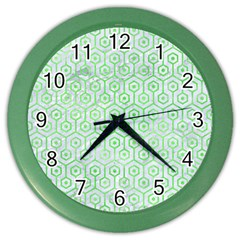 Hexagon1 White Marble & Green Watercolor (r) Color Wall Clock