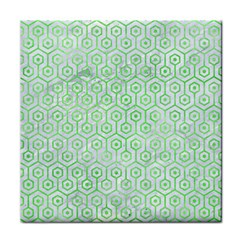 Hexagon1 White Marble & Green Watercolor (r) Face Towel by trendistuff