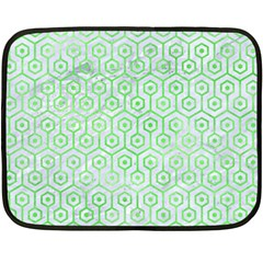 Hexagon1 White Marble & Green Watercolor (r) Double Sided Fleece Blanket (mini)