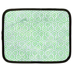 Hexagon1 White Marble & Green Watercolor (r) Netbook Case (xl)