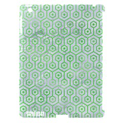 Hexagon1 White Marble & Green Watercolor (r) Apple Ipad 3/4 Hardshell Case (compatible With Smart Cover)