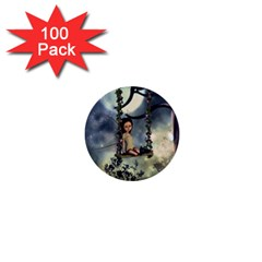 Cute Little Fairy With Kitten On A Swing 1  Mini Buttons (100 Pack)