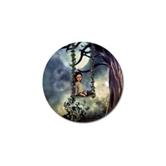 Cute Little Fairy With Kitten On A Swing Golf Ball Marker