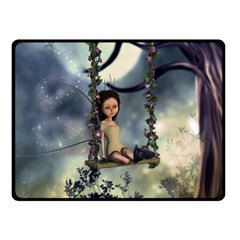 Cute Little Fairy With Kitten On A Swing Fleece Blanket (small)
