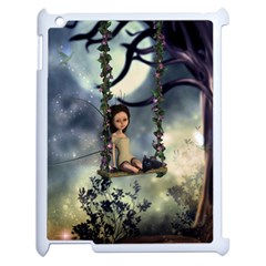 Cute Little Fairy With Kitten On A Swing Apple Ipad 2 Case (white)