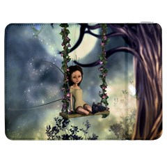 Cute Little Fairy With Kitten On A Swing Samsung Galaxy Tab 7  P1000 Flip Case