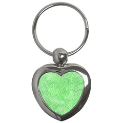 Hexagon1 White Marble & Green Watercolor Key Chains (heart)