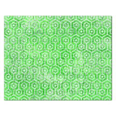 Hexagon1 White Marble & Green Watercolor Rectangular Jigsaw Puzzl
