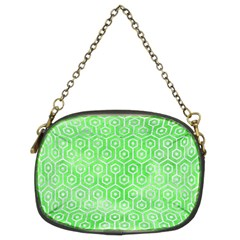 Hexagon1 White Marble & Green Watercolor Chain Purses (two Sides)