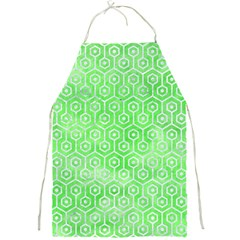 Hexagon1 White Marble & Green Watercolor Full Print Aprons