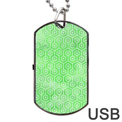 Hexagon1 White Marble & Green Watercolor Dog Tag Usb Flash (one Side) by trendistuff
