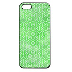Hexagon1 White Marble & Green Watercolor Apple Iphone 5 Seamless Case (black)