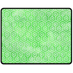 Hexagon1 White Marble & Green Watercolor Double Sided Fleece Blanket (medium)