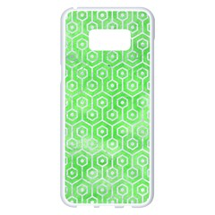 Hexagon1 White Marble & Green Watercolor Samsung Galaxy S8 Plus White Seamless Case