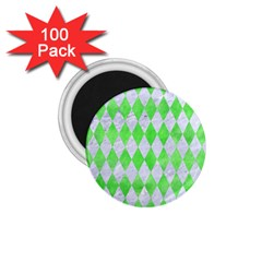 Diamond1 White Marble & Green Watercolor 1 75  Magnets (100 Pack)