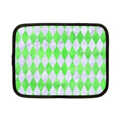 Diamond1 White Marble & Green Watercolor Netbook Case (small)