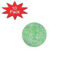 Damask2 White Marble & Green Watercolor (r) 1  Mini Buttons (10 Pack)