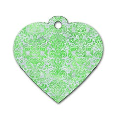 Damask2 White Marble & Green Watercolor (r) Dog Tag Heart (two Sides)
