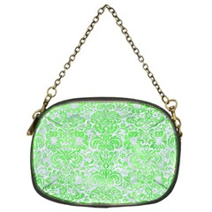 Damask2 White Marble & Green Watercolor (r) Chain Purses (one Side)