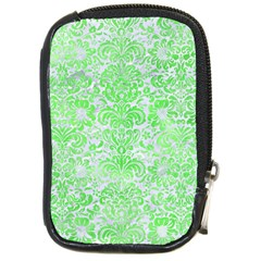 Damask2 White Marble & Green Watercolor (r) Compact Camera Cases