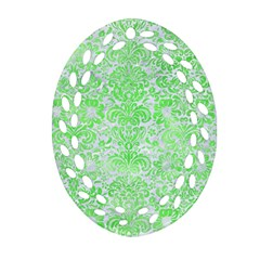 Damask2 White Marble & Green Watercolor (r) Oval Filigree Ornament (two Sides)