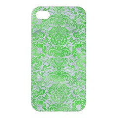 Damask2 White Marble & Green Watercolor (r) Apple Iphone 4/4s Hardshell Case by trendistuff
