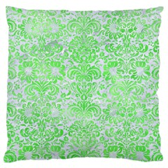 Damask2 White Marble & Green Watercolor (r) Large Cushion Case (two Sides)