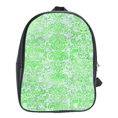 Damask2 White Marble & Green Watercolor (r) School Bag (xl)