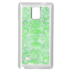 Damask2 White Marble & Green Watercolor (r) Samsung Galaxy Note 4 Case (white)