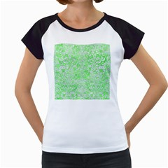 Damask2 White Marble & Green Watercolor Women s Cap Sleeve T