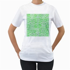 Damask2 White Marble & Green Watercolor Women s T Shirt (white) (two Sided)