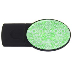 Damask2 White Marble & Green Watercolor Usb Flash Drive Oval (2 Gb)